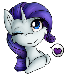 Size: 1062x1204 | Tagged: artist:deraniel, bust, cheek fluff, chibi, cute, heart, one eye closed, pictogram, rarity, safe, simple background, transparent background, unicorn, wink