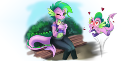 Size: 3464x1732   Tagged: safe, artist:wilvarin-liadon, spike, anthro, dragon, barb, belly button, blushing, clothes, dragoness, female, heart eyes, looking at you, midriff, one eye closed, rule 63, self ponidox, selfcest, shipping, shirt, smiling, spikebarb, tanktop, wingding eyes, wink