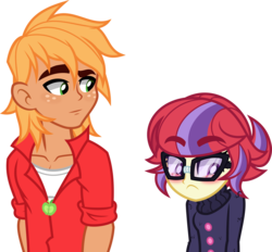 Size: 5000x4644 | Tagged: absurd res, artist:orin331, big macintosh, blushing, breasts, clothes, dancerverse, equestria girls, equestria girls-ified, glasses, looking away, moondancer, role swap, safe, simple background, sweater, transparent background