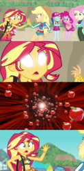 Size: 505x1024 | Tagged: safe, edit, screencap, applejack, fluttershy, pinkie pie, rainbow dash, sunset shimmer, .mov, apple.mov, equestria girls, equestria girls series, forgotten friendship, apple, belly button, food, meme, midriff, sunset sees things