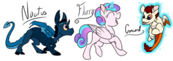 Size: 900x321 | Tagged: safe, artist:pampoke, princess flurry heart, oc, oc:concord, oc:prince noctus, draconequus, hybrid, baby, draconequus oc, interspecies offspring, levitation, magic, offspring, parent:discord, parent:princess celestia, parent:princess luna, parents:dislestia, parents:lunacord, royalty, simple background, telekinesis, tongue out, transparent background, trotting