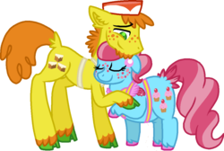 Size: 1010x680 | Tagged: artist:starryoak, carrot cake, carrot cup, cup cake, earth pony, female, male, pony, safe, shipping, simple background, straight, transparent background, unshorn fetlocks