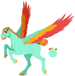 Size: 1429x1455 | Tagged: safe, artist:bijutsuyoukai, oc, pony, colored wings, goggles, magical lesbian spawn, male, multicolored wings, offspring, parent:lightning dust, parent:rainbow dash, parents:rainbowdust, simple background, solo, stallion, transparent background
