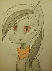 Size: 2785x3842 | Tagged: artist needed, safe, oc, oc only, oc:stormdancer, bat pony, bandana, fangs, red eyes, smiling, solo, traditional art