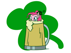 Size: 1800x1350 | Tagged: safe, artist:flutterluv, pinkie pie, earth pony, pony, cider, cup, cup of pony, cute, diapinkes, female, holiday, mare, micro, mug, ponk, saint patrick's day, simple background, solo, tankard, white background