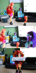 Size: 2048x4096 | Tagged: safe, artist:artofmagicpoland, sci-twi, sunset shimmer, twilight sparkle, alicorn, comic:am i screwed?, equestria girls, art inspired by other artist, chibi, doll, equestria girls minis, eqventures of the minis, holding, imminent battle, inspiration, midnight sparkle, question, reboot series, sign, toy, twilight sparkle (alicorn), windows, windows 10