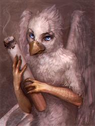 Size: 935x1234   Tagged: safe, artist:stasmihailov, oc, oc only, oc:der, griffon, chromatic aberration, cigarette, male, micro, smoking, solo