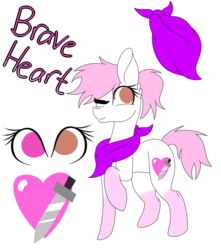 Size: 1024x1160 | Tagged: artist:tomboygirl45, earth pony, female, mare, neckerchief, oc, oc:brave heart, one eye closed, pony, raised hoof, reference sheet, safe, simple background, solo, transparent background, wink