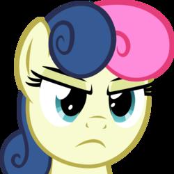 Size: 500x500 | Tagged: safe, artist:the smiling pony, bon bon, sweetie drops, earth pony, pony, derpibooru, .svg available, bon bon is not amused, derpibooru badge, female, meta, simple background, solo, svg, transparent background, unamused, vector