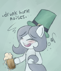 Size: 1200x1400 | Tagged: alcohol, artist:drabbella, beer, bipedal, blue background, blushing, chest fluff, descriptive noise, drunk, earth pony, eyes closed, female, hat, holiday, hoof hold, horse noises, mare, mug, oc, oc:hattsy, oc only, open mouth, pony, safe, saint patrick's day, simple background, smiling, solo, top hat