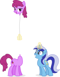 Size: 8274x10482 | Tagged: absurd res, artist:punzil504, balloon, berry punch, berryshine, earth pony, female, glowing horn, magic, minuette, pony, safe, simple background, transparent background, unicorn, wat