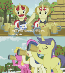 Size: 2560x2864 | Tagged: bon bon, bone hurting juice, cherry berry, cider, comet tail, earth pony, edit, edited screencap, flam, flim, flim flam brothers, pony, safe, screencap, shitposting, sweet apple acres, sweetie drops, the super speedy cider squeezy 6000, unicorn