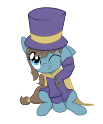 Size: 786x951 | Tagged: a hat in time, cape, clothes, cute, female, filly, hat, hat kid, one eye closed, ponified, pony, safe, simple background, sitting, smiling, solo, transparent background, weapons-grade cute, wink