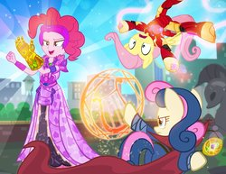Size: 900x695   Tagged: safe, artist:pixelkitties, bon bon, fluttershy, pinkie pie, sweetie drops, earth pony, pegasus, pony, equestria girls, andrea libman, armor, avengers: infinity war, clothes, costume, doctor strange, element of generosity, element of honesty, element of laughter, element of loyalty, element of magic, elements of harmony, equestria is doomed, evil grin, eye of agamotto, female, grin, harmony gauntlet, implied lyra, infinity gauntlet, infinity gems, iron man, iron mare, lyre, magic, mare, marvel, marvel cinematic universe, marvel comics, parody, pixelkitties' brilliant autograph media artwork, smiling, statue, symbol, thanos, this will end in genocide, this will not end well, time stone, trio, voice actor joke, we are doomed, xk-class end-of-the-world scenario