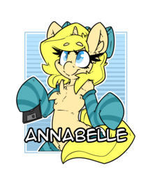 Size: 2100x2400 | Tagged: artist:bbsartboutique, badge, bow, chest fluff, clothes, con badge, female, floppy disk, hair bow, oc, oc:annabelle (zizzydizzymc), safe, simple background, socks, solo, stockings, striped socks, text, thigh highs, transparent background, unicorn