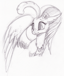 Size: 2186x2631   Tagged: safe, artist:faline-art, princess skystar, classical hippogriff, hippogriff, my little pony: the movie, female, grayscale, heart, heart eyes, monochrome, pencil drawing, quadrupedal, simple background, solo, traditional art, white background, wingding eyes