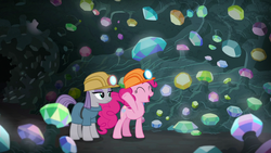 Size: 1280x720 | Tagged: safe, screencap, maud pie, pinkie pie, earth pony, pony, rock solid friendship, cave, duo, eyes closed, female, gem, gem cave, glowing gems, hard hat, helmet, mining helmet, sisters, waving