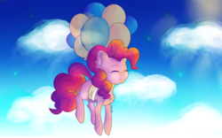 Size: 3452x2160 | Tagged: artist:tunchawk, balloon, cloud, earth pony, eyes closed, floating, flying, pinkie pie, pony, safe, sky, smiling, solo, then watch her balloons lift her up to the sky