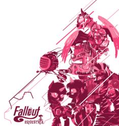 Size: 4576x4863 | Tagged: safe, artist:iiapiiiubbiu, oc, oc only, oc:calamity, oc:littlepip, oc:steelhooves, oc:velvet remedy, oc:watcher, oc:xenith, earth pony, pegasus, pony, unicorn, zebra, fallout equestria, absurd resolution, armor, clothes, dashite, enclave armor, epic, eyebot, fallout, fanfic, fanfic art, female, fluttershy medical saddlebag, gun, handgun, hooves, horn, little macintosh, logo, logo parody, male, mare, medical saddlebag, monochrome, optical sight, pipbuck, poster, power armor, revolver, saddle bag, shotgun, simple background, spritebot, stallion, steel ranger, text, tongue out, vault suit, weapon, white background, wings, zebra oc