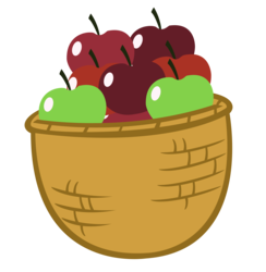 Size: 4461x4577 | Tagged: absurd res, apple, apple basket, artist:sofunnyguy, basket, food, fruit, green apple, no pony, object, red apple, resource, safe, simple background, transparent background, vector