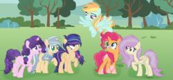 Size: 6289x2929   Tagged: safe, artist:xxmelody-scribblexx, oc, oc only, pegasus, pony, unicorn, female, glasses, mare, offspring, parent:applejack, parent:flash sentry, parent:fluttershy, parent:pinkie pie, parent:rainbow dash, parent:rarity, parent:shining armor, parent:sugar belle, parent:sunburst, parent:twilight sparkle, parent:vinyl scratch, parent:zephyr breeze, parents:flashlight, parents:pinkieburst, parents:shiningjack, parents:sugarity, parents:vinylshy, parents:zephdash
