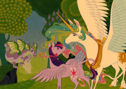 Size: 1360x957 | Tagged: safe, artist:thiscrispykat, princess celestia, spike, twilight sparkle, alicorn, cloven hooves, cutie mark, grass, horn, sparkles, spread wings, style emulation, tail feathers, the last unicorn, tree, twilight sparkle (alicorn), winged spike, wings, yoke