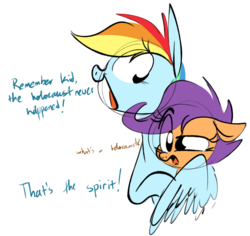 Size: 950x897   Tagged: safe, artist:hattsy, rainbow dash, scootaloo, pegasus, pony, /pol/, 4chan, confused, dark comedy, dialogue, duo, female, filly, holocaust, holocaust denial, hug, mare, open mouth, simple background, white background, winghug