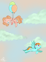 Size: 1500x2000 | Tagged: artist needed, balloon, duo, floating, flying, looking at each other, pinkie pie, rainbow dash, safe, sky, surprised, then watch her balloons lift her up to the sky