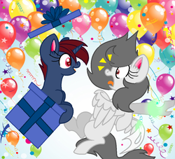 Size: 930x844 | Tagged: artist:earthyrainbowkitty, base used, box, female, mare, oc, oc:hilal, oc only, pegasus, pony, pony in a box, present, safe, surprised, unicorn