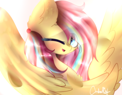 Size: 1024x799 | Tagged: artist:anasflow, female, mare, oc, oc:flutter pie, one eye closed, pegasus, pony, safe, solo, wink