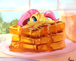 Size: 2500x2000 | Tagged: safe, artist:miokomata, fluttershy, pegasus, pony, breakfast, butter, colored hooves, cute, female, flutterbutter, folded wings, food, fork, freckles, looking at you, mare, micro, miokomata is trying to murder us, plate, ponies in food, prone, shyabetes, sky, smiling, solo, syrup, table, waffle, weapons-grade cute, window