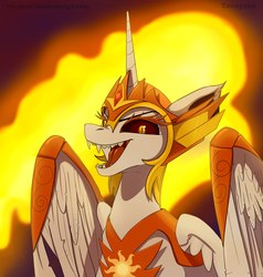 Size: 2058x2160 | Tagged: safe, artist:taneysha, daybreaker, alicorn, pony, ethereal mane, fangs, female, looking at you, mare, open mouth, solo