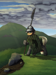 Size: 2247x3000 | Tagged: safe, artist:dipfanken, applejack, earth pony, pony, armor, castle, chainmail, clothes, female, grass, grass field, halberd, helmet, mare, mount and blade, mountain, normandy, scenery, shield, solo, spear, weapon