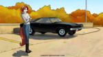 Size: 2373x1320 | Tagged: safe, artist:apocheck13, oc, oc only, anthro, plantigrade anthro, anthro oc, autumn, boots, car, clothes, dodge charger, female, jeans, mare, muscle car, pants, shoes, solo, turtleneck sweater