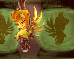 Size: 3500x2834 | Tagged: safe, artist:graphene, spitfire, pony, robot, robot pony, canister, female, looking at you, mare, tank (container), vat