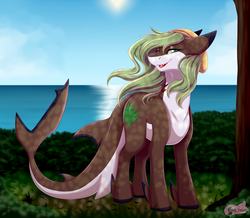 Size: 2750x2400 | Tagged: safe, artist:pinktabico, oc, oc only, original species, shark pony, commission, female, looking down, ocean, scenery, solo, tree trunk