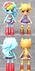 Size: 800x1599   Tagged: safe, applejack, rainbow dash, equestria girls, bootleg, boots, clothes, doll, dress, equestria girls minis, female, irl, legs, photo, shoes, skirt, toy