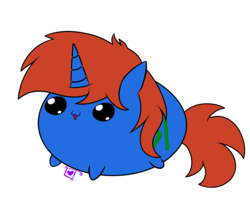 Size: 2300x2000 | Tagged: safe, artist:lullabytrace, oc, oc only, oc:cyberpon3, pony, unicorn, :3, blob, blob ponies, blob pony, chubbie, cute, male, simple background, solo, stallion, transparent background