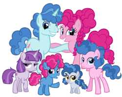 Size: 2520x2016 | Tagged: artist:thecheeseburger, colt, earth pony, family, female, filly, looking at you, male, mare, oc, offspring, parent:party favor, parent:pinkie pie, parents:partypie, party favor, partypie, pinkie pie, pony, safe, shipping, simple background, stallion, straight, transparent background, unicorn