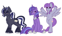Size: 1096x634 | Tagged: artist:lulubell, bipedal, edit, glasses, magical lesbian spawn, oc, oc:moonlight eve, oc only, oc:serene skies, oc:somni, offspring, parent:princess luna, parents:twiluna, parent:twilight sparkle, safe, simple background, transparent background, unshorn fetlocks