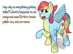 Size: 958x706 | Tagged: age regression, apple bloom, artist:marsh-mal-oh, bow, character to character, earth pony, obtrusive watermark, pegasus, pony, race swap, rainbow dash, safe, simple background, transformation, transparent background, what has magic done