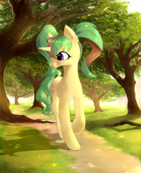 Size: 4500x5500   Tagged: safe, artist:aoiyui, oc, oc only, oc:tropical grove, pony, unicorn, absurd resolution, cute, female, forest, mare, scenery, solo