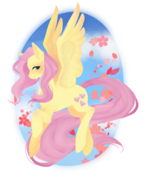 Size: 733x878 | Tagged: artist:shagirma, female, flower, fluttershy, looking at you, looking sideways, mare, pegasus, pony, raised hoof, safe, smiling, solo, spread wings, wings