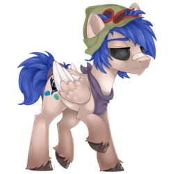 Size: 800x803 | Tagged: artist:mlpdarksparx, bandaid, clothes, male, oc, oc only, pegasus, pony, raffle prize, raised hoof, safe, simple background, solo, transparent background, unshorn fetlocks