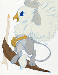 Size: 957x1234 | Tagged: safe, artist:shazzykatana, artist:tinibirb, color edit, edit, oc, oc only, oc:der, griffon, candle, colored, feather, male, micro, sketch, solo, traditional art