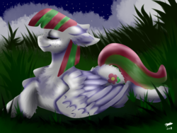 Size: 1600x1200 | Tagged: safe, artist:brainiac, blossomforth, pegasus, pony, butt fluff, chest fluff, crossed hooves, ear fluff, eyes closed, female, floppy ears, fluffy, freckles, leg fluff, mare, solo, wing fluff