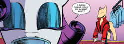 Size: 1023x365 | Tagged: safe, artist:andypriceart, idw, rarity, spoiler:comic, spoiler:comic64, close-up, clothes, clothes rack, eyes closed, eyeshadow, jacket, makeup, michael jackson, official comic, ponyquin