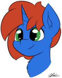 Size: 474x597 | Tagged: safe, artist:seafooddinner, oc, oc only, oc:cyberpon3, pony, unicorn, bust, ear fluff, male, portrait, simple background, smiling, solo, stallion, transparent background