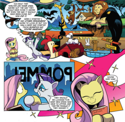Size: 979x950 | Tagged: safe, artist:andypriceart, idw, angel bunny, fluttershy, rarity, ape, bat, beagle, big cat, bird, chicken, dog, giraffe, lion, monkey, otter, pegasus, pony, raven (bird), shark, squirrel, unicorn, spoiler:comic, spoiler:comic64, comic, doghouse, edgar allan poe, jaws, official comic, peanuts (comic), shout out, snoopy, sweet feather sanctuary, the raven