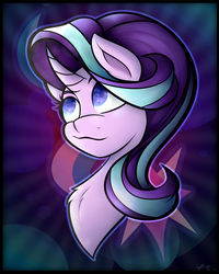 Size: 2400x3000 | Tagged: safe, artist:cosmicchrissy, starlight glimmer, pony, unicorn, :3, bust, chest fluff, curved horn, cute, female, glimmerbetes, horn, mare, portrait, print, smiling, solo
